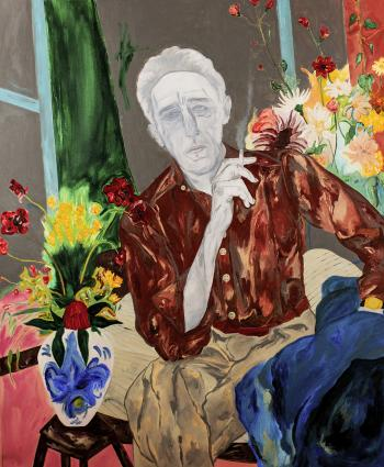 Cocteau on the bed, 2021, mixed media on paper, 100 x 125 cm.